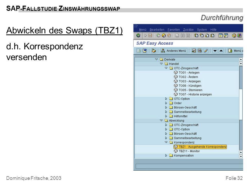 Folie 32 SAP - F ALLSTUDIE Z INSWÄHRUNGSSWAP Dominique Fritsche, 2003 Durchführung Abwickeln des Swaps (TBZ1) d.h. Korrespondenz versenden