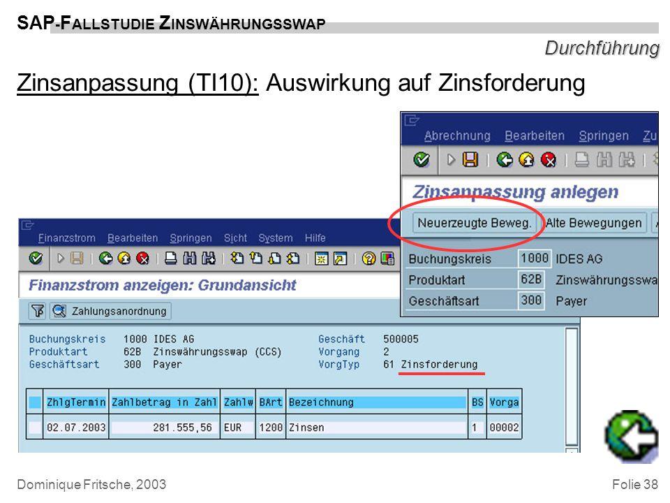 Folie 38 SAP - F ALLSTUDIE Z INSWÄHRUNGSSWAP Dominique Fritsche, 2003 Durchführung Zinsanpassung (TI10): Auswirkung auf Zinsforderung