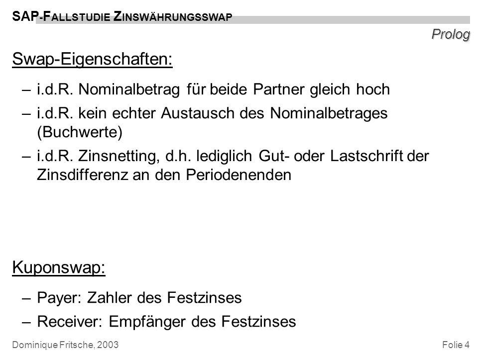 Folie 4 SAP - F ALLSTUDIE Z INSWÄHRUNGSSWAP Dominique Fritsche, 2003 Prolog Swap-Eigenschaften: –i.d.R. Nominalbetrag für beide Partner gleich hoch –i