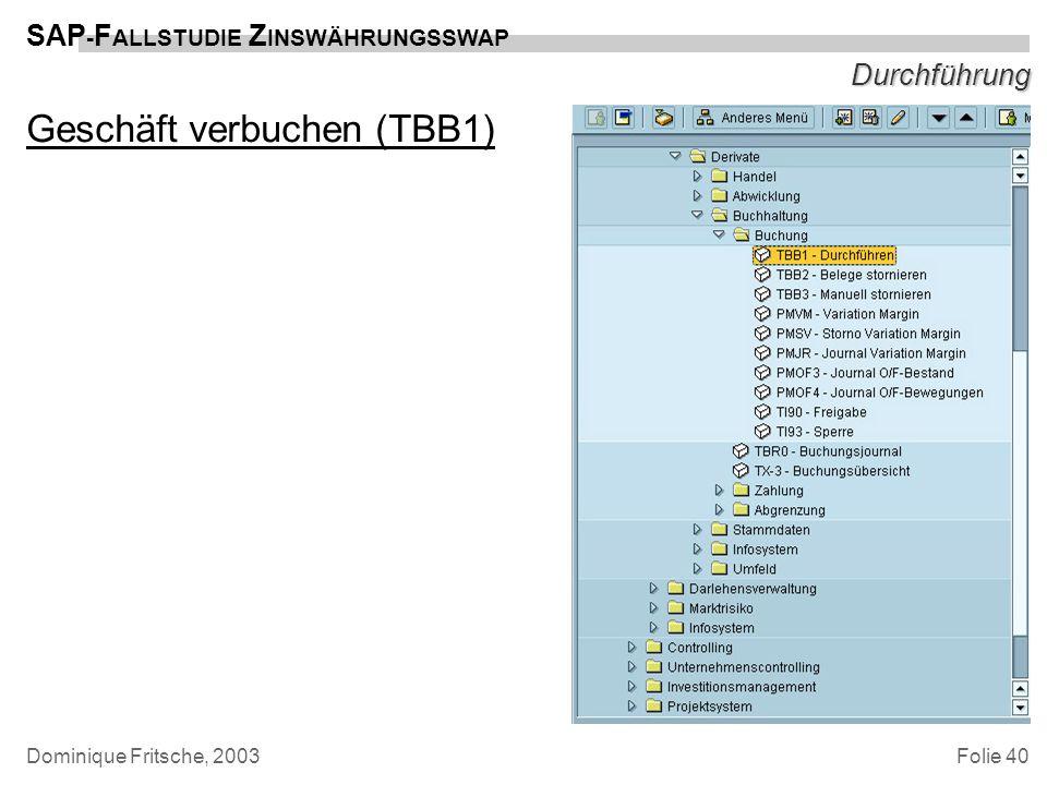 Folie 40 SAP - F ALLSTUDIE Z INSWÄHRUNGSSWAP Dominique Fritsche, 2003 Durchführung Geschäft verbuchen (TBB1)
