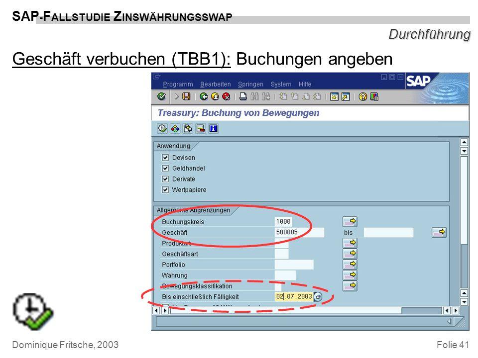 Folie 41 SAP - F ALLSTUDIE Z INSWÄHRUNGSSWAP Dominique Fritsche, 2003 Durchführung Geschäft verbuchen (TBB1): Buchungen angeben