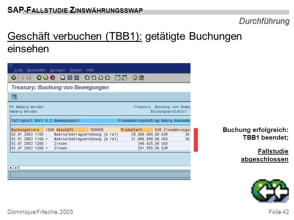 Folie 42 SAP - F ALLSTUDIE Z INSWÄHRUNGSSWAP Dominique Fritsche, 2003 Durchführung Geschäft verbuchen (TBB1): getätigte Buchungen einsehen Buchung erf