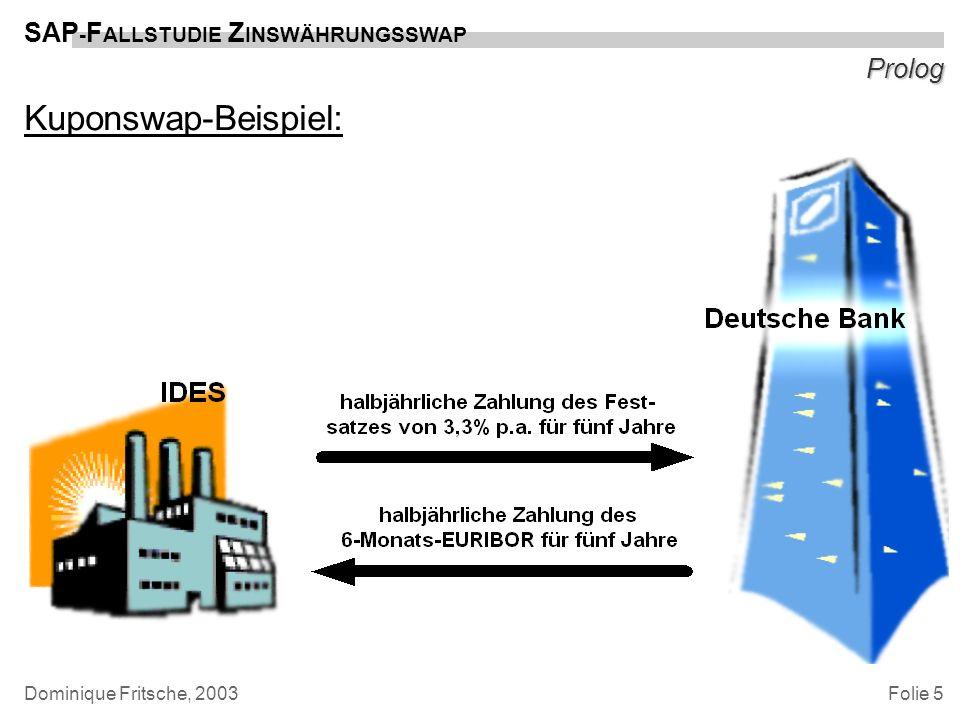 Folie 5 SAP - F ALLSTUDIE Z INSWÄHRUNGSSWAP Dominique Fritsche, 2003 Prolog Kuponswap-Beispiel:
