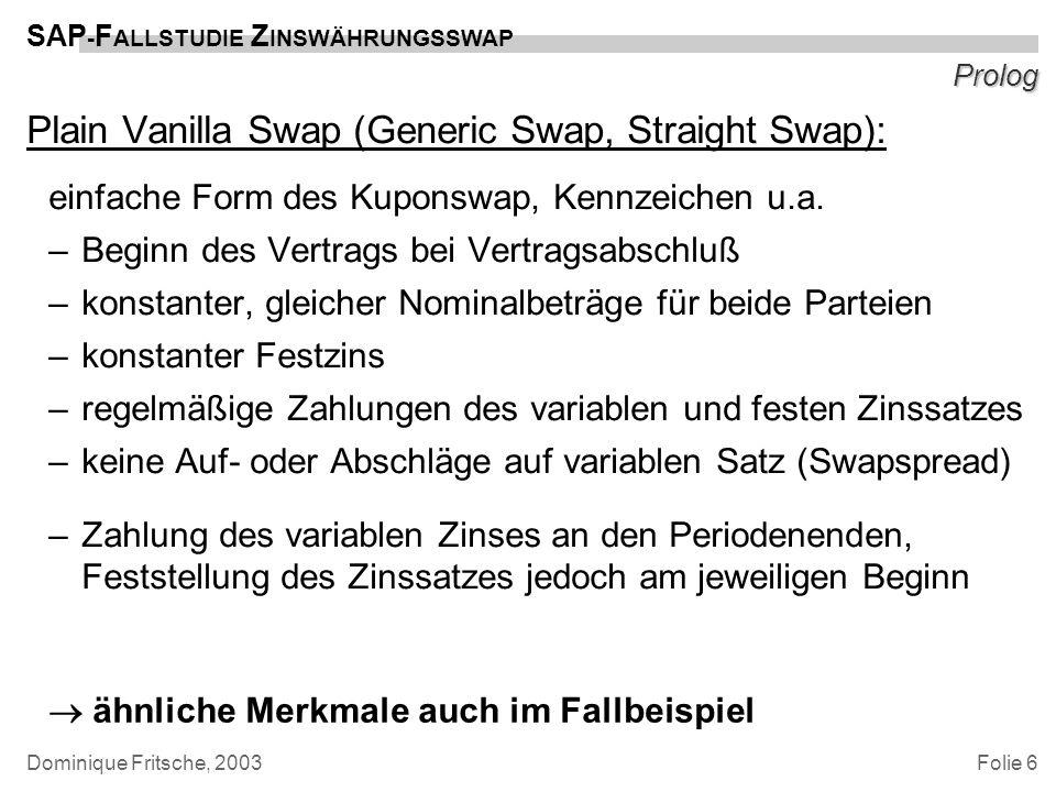 Folie 6 SAP - F ALLSTUDIE Z INSWÄHRUNGSSWAP Dominique Fritsche, 2003 Prolog Plain Vanilla Swap (Generic Swap, Straight Swap): einfache Form des Kupons