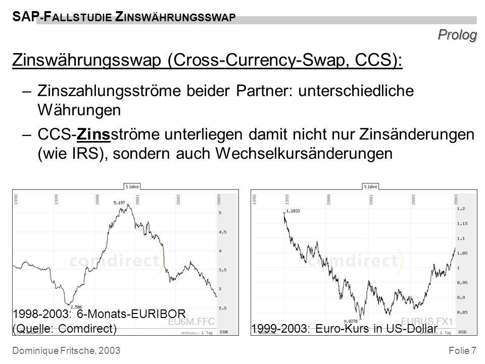 Folie 7 SAP - F ALLSTUDIE Z INSWÄHRUNGSSWAP Dominique Fritsche, 2003 Prolog Zinswährungsswap (Cross-Currency-Swap, CCS): –Zinszahlungsströme beider Pa