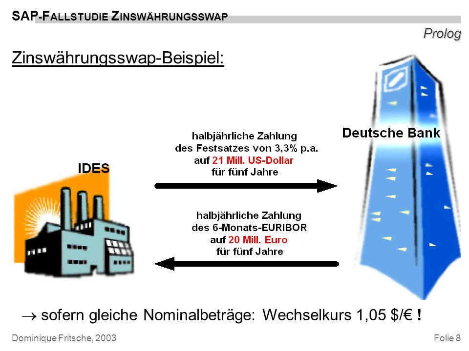 Folie 8 SAP - F ALLSTUDIE Z INSWÄHRUNGSSWAP Dominique Fritsche, 2003 Prolog Zinswährungsswap-Beispiel: sofern gleiche Nominalbeträge: Wechselkurs 1,05