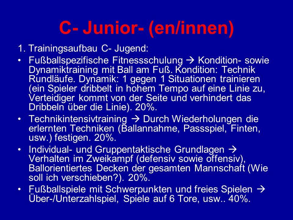 C- Junior- (en/innen) 1. Trainingsaufbau C- Jugend: Fußballspezifische Fitnessschulung Kondition- sowie Dynamiktraining mit Ball am Fuß. Kondition: Te