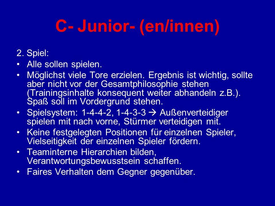 C- Junior- (en/innen) 2. Spiel: Alle sollen spielen. Möglichst viele Tore erzielen. Ergebnis ist wichtig, sollte aber nicht vor der Gesamtphilosophie
