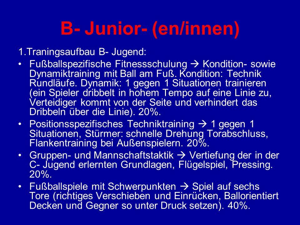 B- Junior- (en/innen) 1.Traningsaufbau B- Jugend: Fußballspezifische Fitnessschulung Kondition- sowie Dynamiktraining mit Ball am Fuß. Kondition: Tech