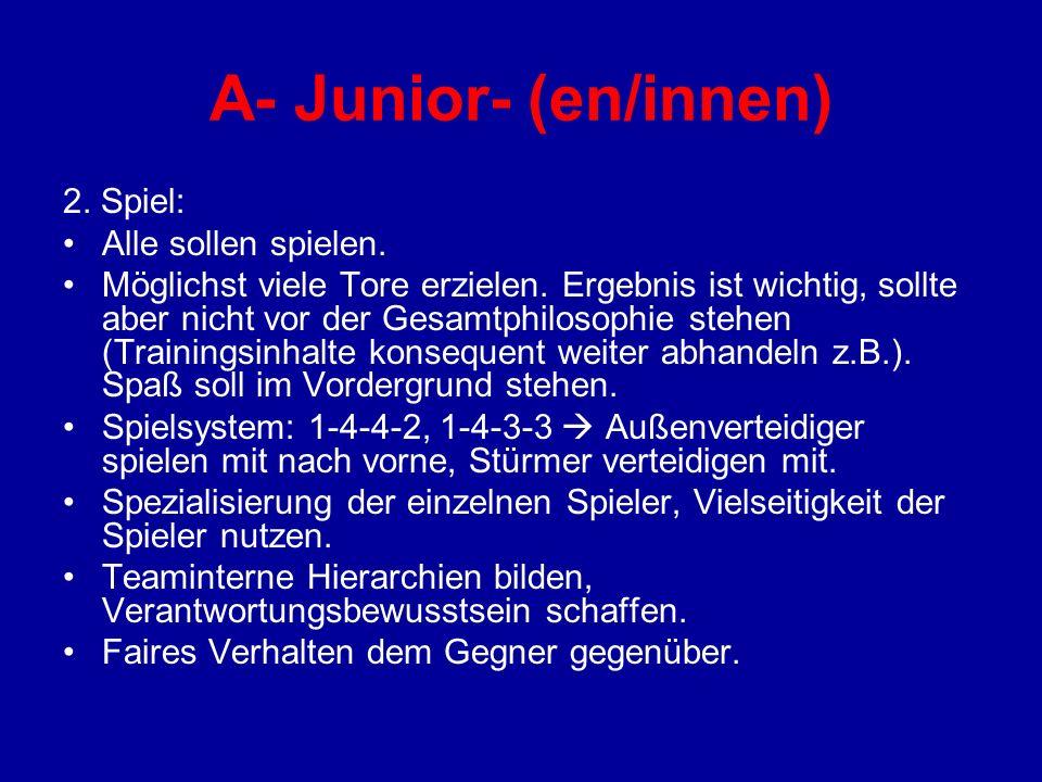 A- Junior- (en/innen) 2. Spiel: Alle sollen spielen. Möglichst viele Tore erzielen. Ergebnis ist wichtig, sollte aber nicht vor der Gesamtphilosophie