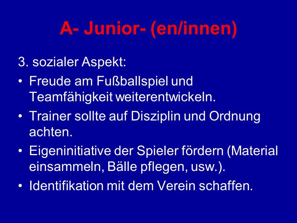 A- Junior- (en/innen) 3. sozialer Aspekt: Freude am Fußballspiel und Teamfähigkeit weiterentwickeln. Trainer sollte auf Disziplin und Ordnung achten.
