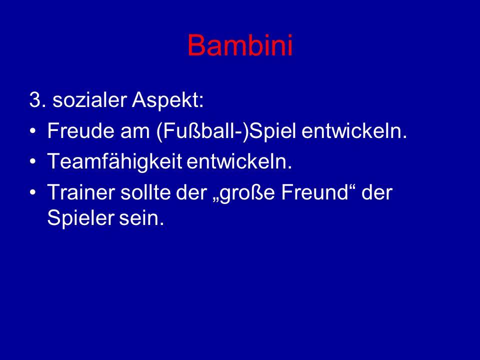 Bambini 3. sozialer Aspekt: Freude am (Fußball-)Spiel entwickeln. Teamfähigkeit entwickeln. Trainer sollte der große Freund der Spieler sein.
