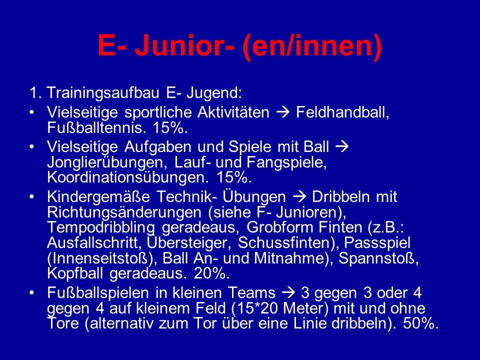 E- Junior- (en/innen) 1. Trainingsaufbau E- Jugend: Vielseitige sportliche Aktivitäten Feldhandball, Fußballtennis. 15%. Vielseitige Aufgaben und Spie