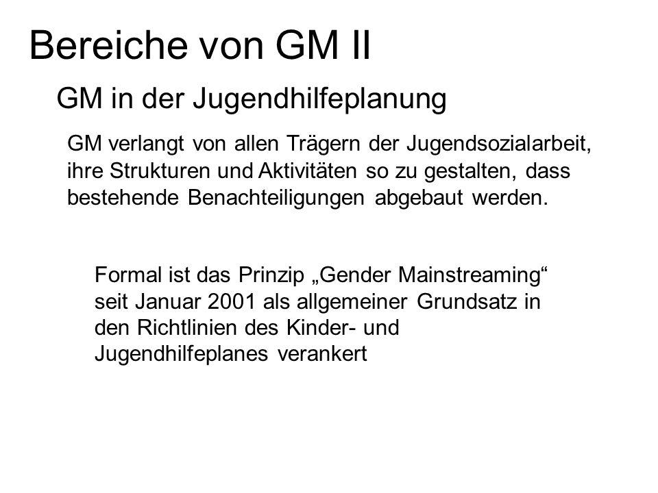 Bereiche von GM II GM in der Jugendhilfeplanung GM verlangt von allen Trägern der Jugendsozialarbeit, ihre Strukturen und Aktivitäten so zu gestalten,