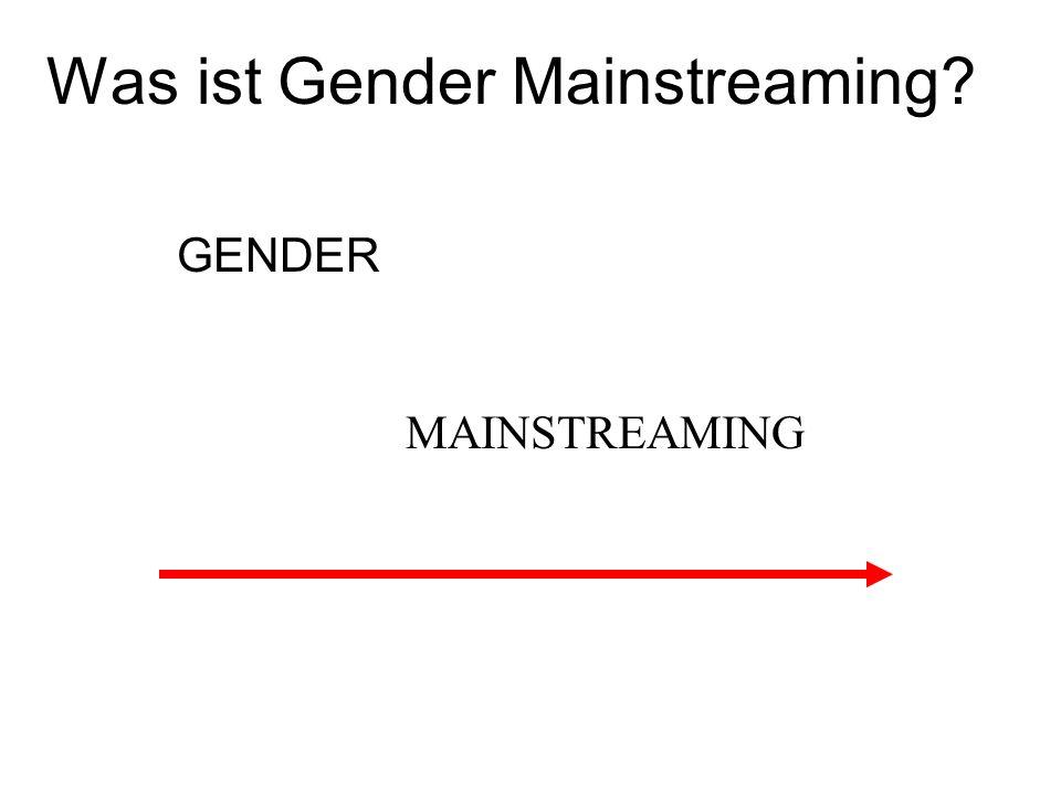 Was ist Gender Mainstreaming? GENDER MAINSTREAMING