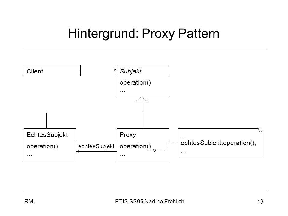 ETIS SS05 Nadine FröhlichRMI 14 Zusammenfassung RMI verbirgt Tatsache, dass Methode remote (entfernt) aufgerufen wird –entfernte Methoden wie normale Methoden, in Client-JVM laufend, aufgerufen (mittels Stub (Proxy)) –RMI gibt Infrastruktur vor (inkl.