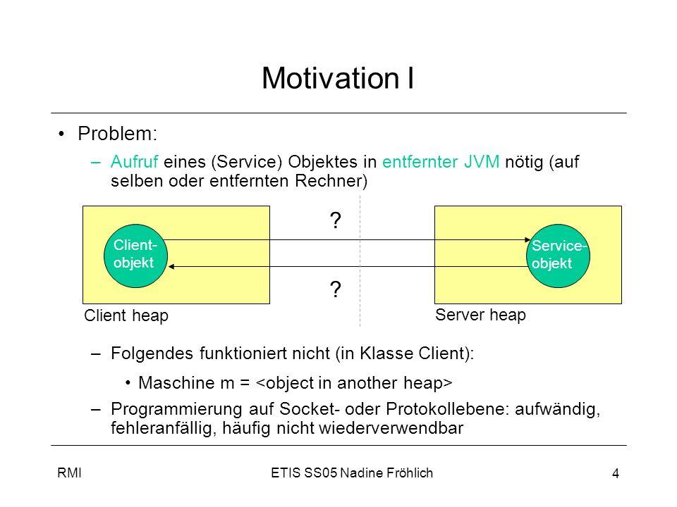 ETIS SS05 Nadine FröhlichRMI 5 Ablauf der Kommunikation I RMI ermöglicht Finden + Aufruf von Objekten in entfernter JVM, dabei: –keine Unterscheidung zwischen lokalen und entfernten Methodenaufrufen, d.h.