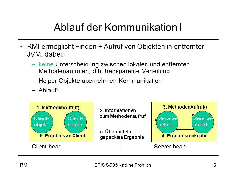 ETIS SS05 Nadine FröhlichRMI 6 Ablauf der Kommunikation II 1.Methodenaufruf –Client ruft Methode auf Client Helper (Stub) auf, als ob dieser aktueller Service wäre –Client Helper Proxy tut so, als wäre er Service, den Client aufrufen will hat selbe Methoden wie Remote Service, aber keine Logik Informationen zum Methodenaufruf –Client Helper kontaktiert Server, transferiert Informationen über Methodenaufruf (Methodenname, Argumente) und wartet auf Antwort vom Server