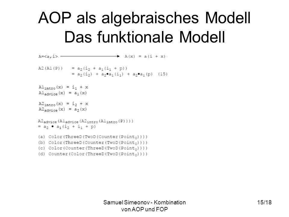 Samuel Simeonov - Kombination von AOP und FOP 15/18 AOP als algebraisches Modell Das funktionale Modell