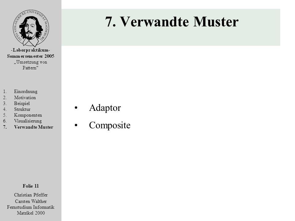 Folie 11 Christian Pfeffer Carsten Walther Fernstudium Informatik Matrikel 2000 7. Verwandte Muster 1.Einordnung 2.Motivation 3.Beispiel 4.Struktur 5.