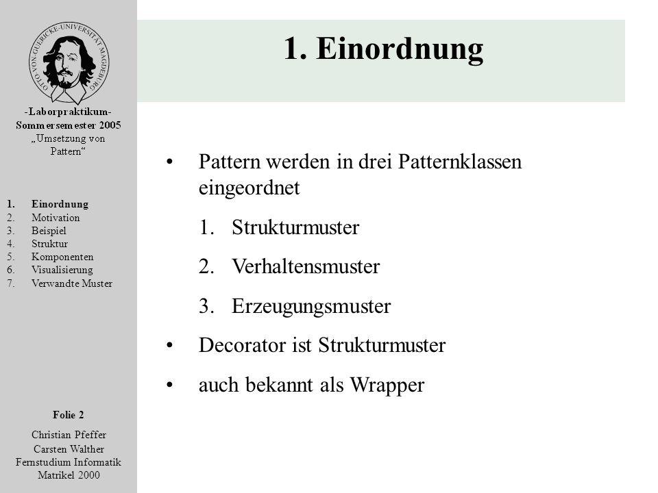 Folie 2 Christian Pfeffer Carsten Walther Fernstudium Informatik Matrikel 2000 1. Einordnung 2.Motivation 3.Beispiel 4.Struktur 5.Komponenten 6.Visual
