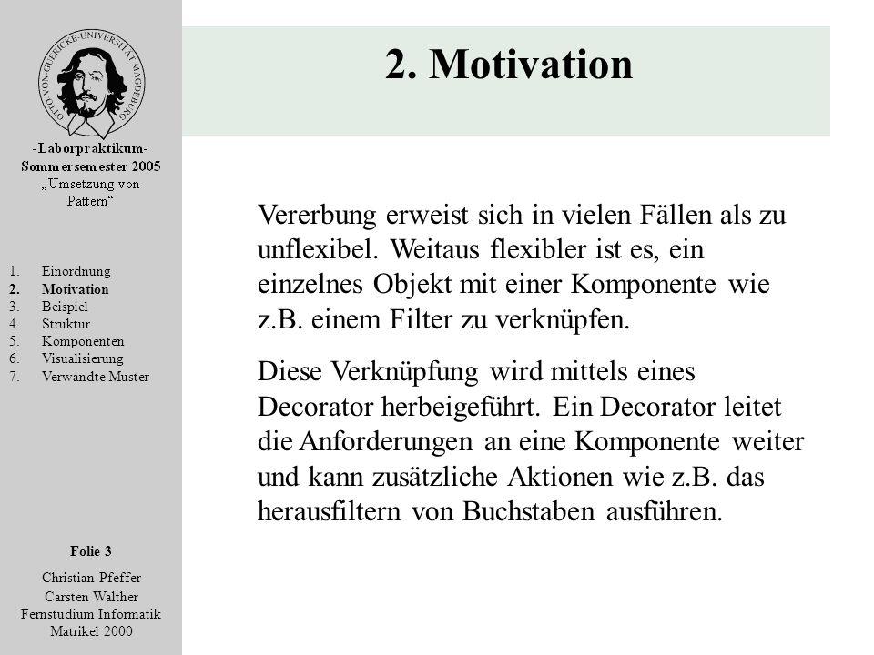 Folie 3 Christian Pfeffer Carsten Walther Fernstudium Informatik Matrikel 2000 2. Motivation 1.Einordnung 2.Motivation 3.Beispiel 4.Struktur 5.Kompone