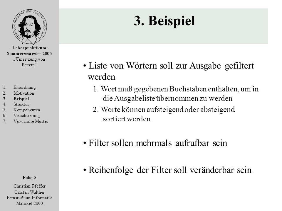 Folie 5 Christian Pfeffer Carsten Walther Fernstudium Informatik Matrikel 2000 3. Beispiel 1.Einordnung 2.Motivation 3.Beispiel 4.Struktur 5.Komponent
