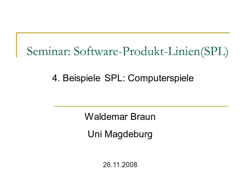 Waldemar Braun 2 Inhalt Einführung/Motivation Entwicklung von Produktlinien Vorteile/Nachteile Tetris-Produktlinie (Ideales Beispiel) Konkrete Beispiele Fazit Zusammenfassung Quellen