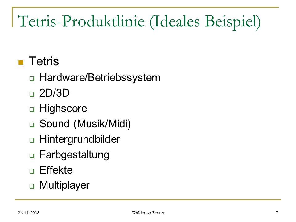 26.11.2008 Waldemar Braun 8 Tetris-Produktlinie (Ideales Beispiel) Feature-Diagramm