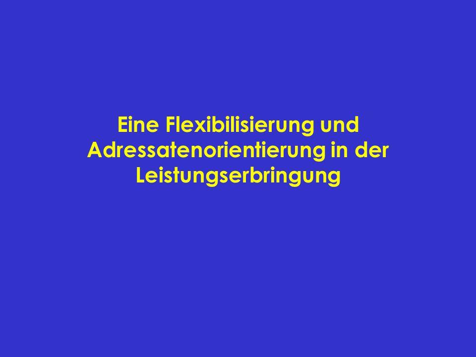 Eine Flexibilisierung und Adressatenorientierung in der Leistungserbringung