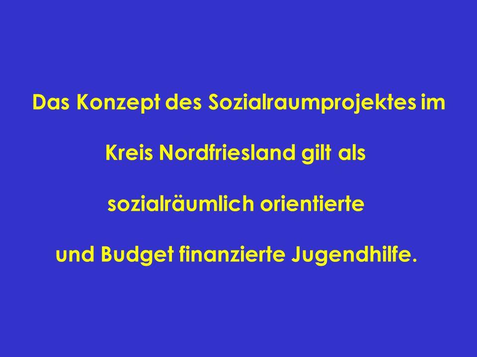 Das Konzept des Sozialraumprojektes im Kreis Nordfriesland gilt als sozialräumlich orientierte und Budget finanzierte Jugendhilfe.