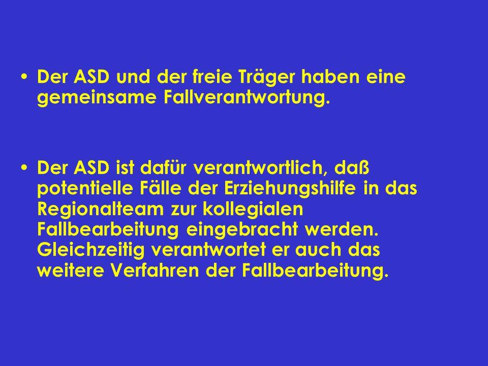 Der ASD und der freie Träger haben eine gemeinsame Fallverantwortung. Der ASD ist dafür verantwortlich, daß potentielle Fälle der Erziehungshilfe in d