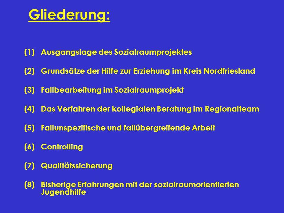 Gliederung: (1)Ausgangslage des Sozialraumprojektes (2)Grundsätze der Hilfe zur Erziehung im Kreis Nordfriesland (3)Fallbearbeitung im Sozialraumproje