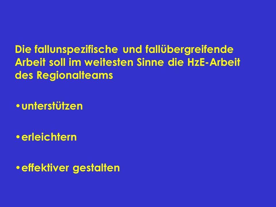 Die fallunspezifische und fallübergreifende Arbeit soll im weitesten Sinne die HzE-Arbeit des Regionalteams unterstützen erleichtern effektiver gestal