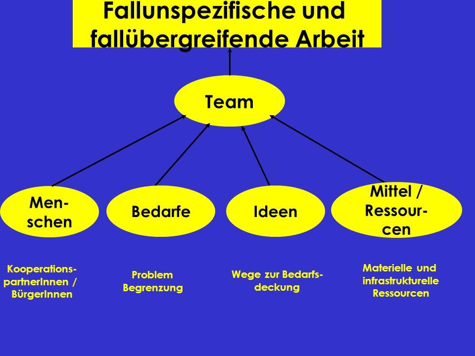 Fallunspezifische und fallübergreifende Arbeit Team Men- schen Kooperations- partnerInnen / BürgerInnen Problem Begrenzung Wege zur Bedarfs- deckung M