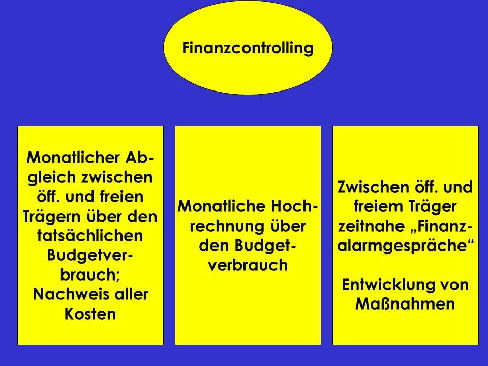 Finanzcontrolling Monatlicher Ab- gleich zwischen öff. und freien Trägern über den tatsächlichen Budgetver- brauch; Nachweis aller Kosten Monatliche H