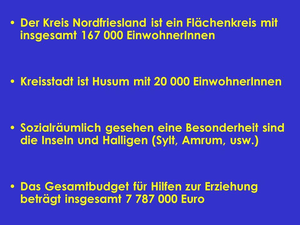 Der Kreis Nordfriesland ist ein Flächenkreis mit insgesamt 167 000 EinwohnerInnen Kreisstadt ist Husum mit 20 000 EinwohnerInnen Sozialräumlich gesehe