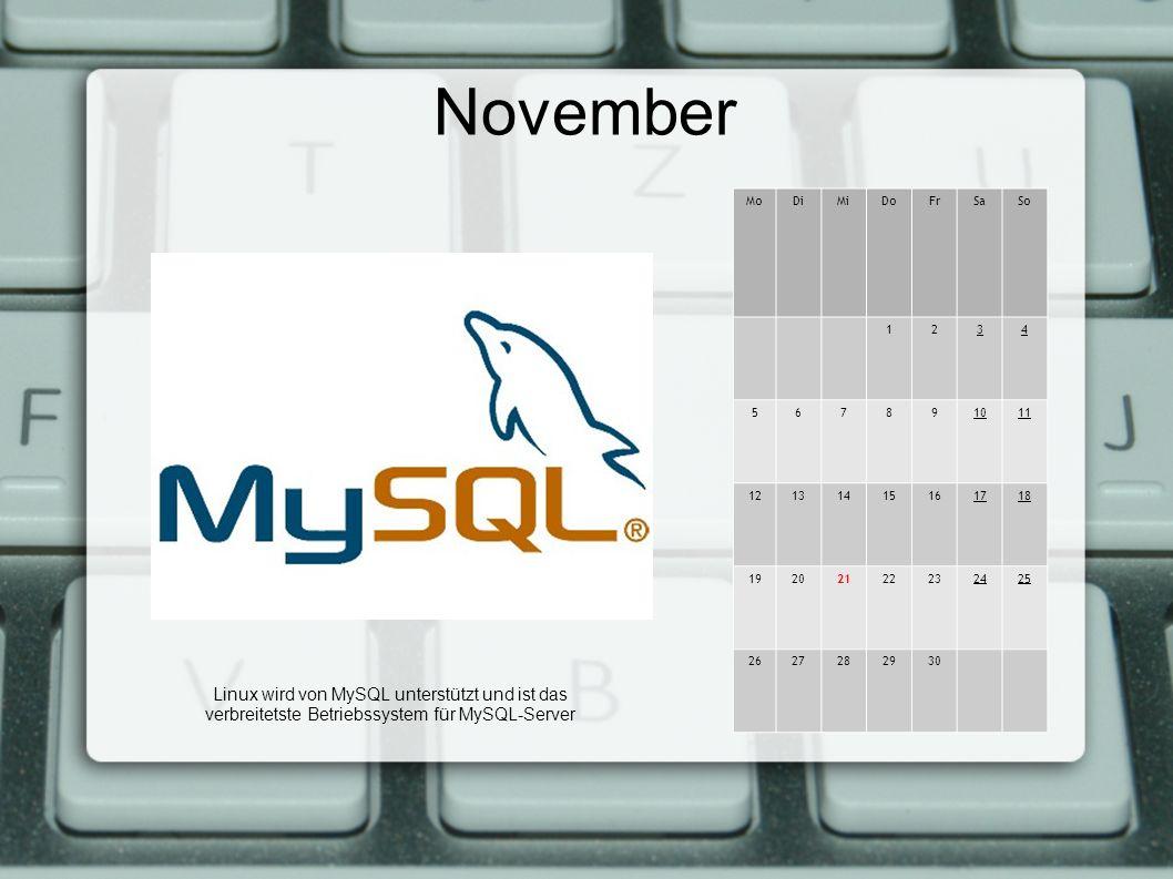 November MoDiMiDoFrSaSo 1234 567891011 12131415161718 19202122232425 2627282930 Linux wird von MySQL unterstützt und ist das verbreitetste Betriebssystem für MySQL-Server