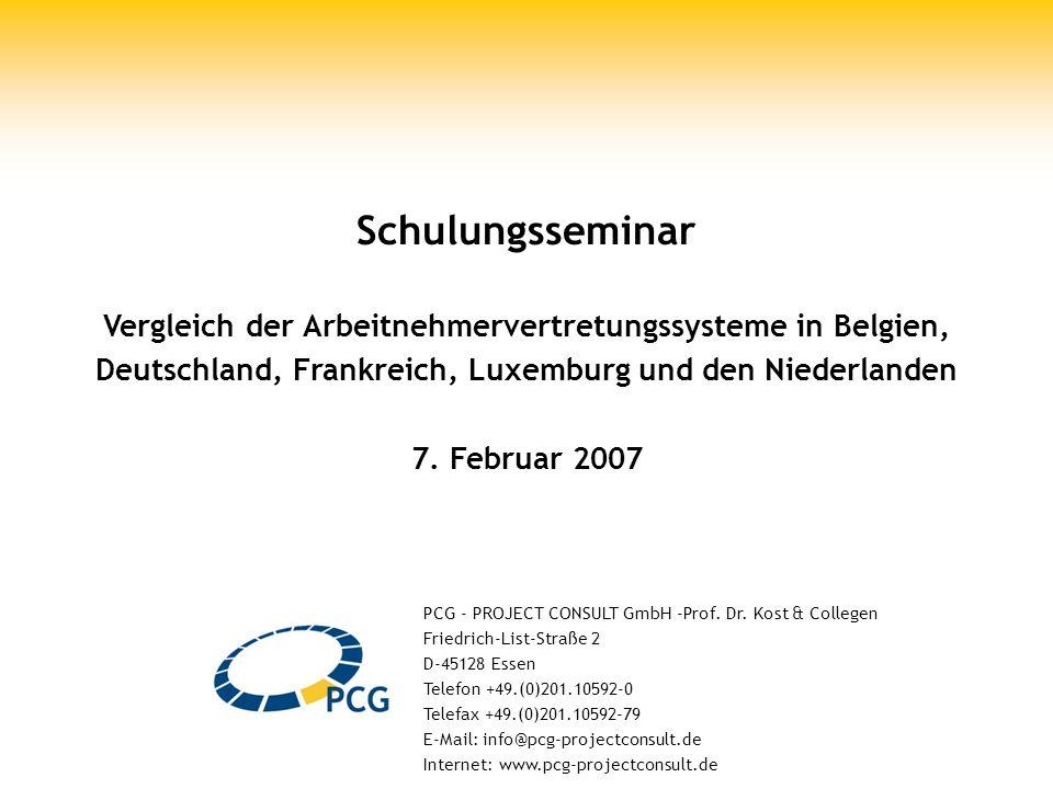 Schulungsseminar 7. Februar, Seite 1 Schulungsseminar Vergleich der Arbeitnehmervertretungssysteme in Belgien, Deutschland, Frankreich, Luxemburg und