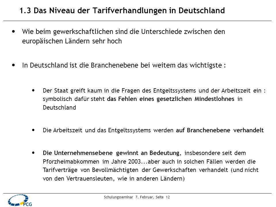 Schulungsseminar 7. Februar, Seite 12 1.3 Das Niveau der Tarifverhandlungen in Deutschland Wie beim gewerkschaftlichen sind die Unterschiede zwischen