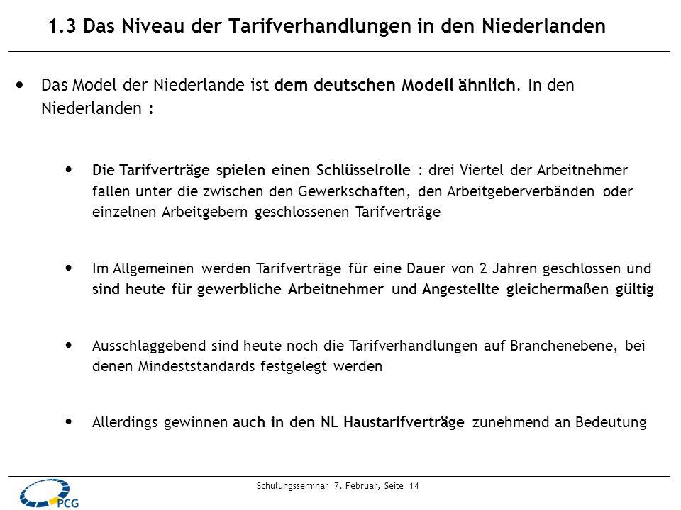 Schulungsseminar 7. Februar, Seite 14 1.3 Das Niveau der Tarifverhandlungen in den Niederlanden Das Model der Niederlande ist dem deutschen Modell ähn