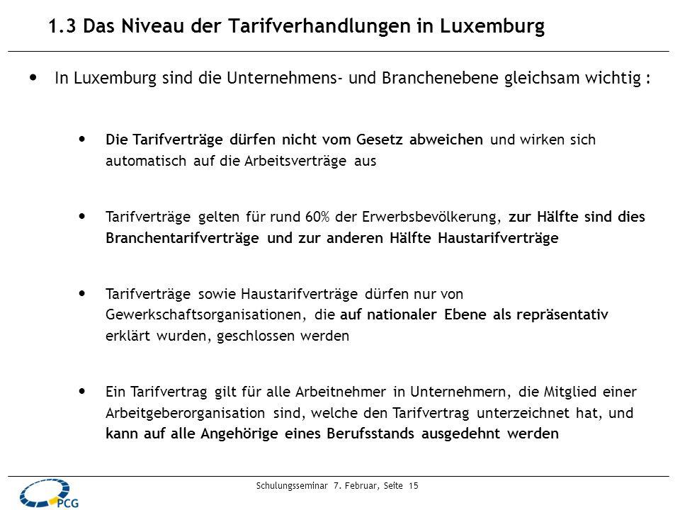 Schulungsseminar 7. Februar, Seite 15 1.3 Das Niveau der Tarifverhandlungen in Luxemburg In Luxemburg sind die Unternehmens- und Branchenebene gleichs