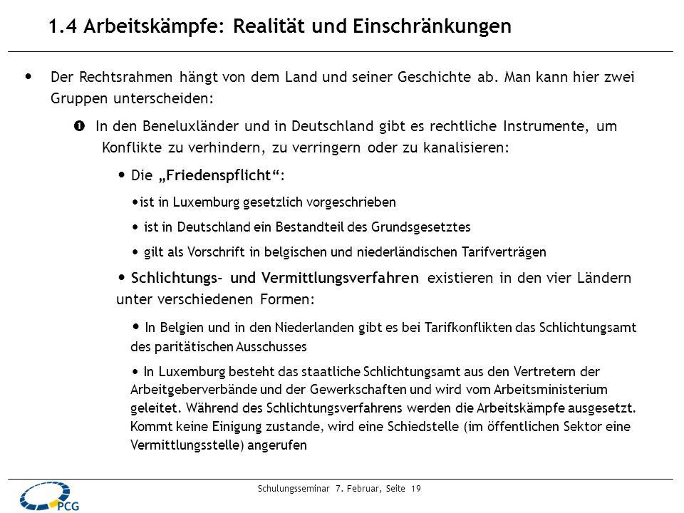 Schulungsseminar 7. Februar, Seite 19 1.4 Arbeitskämpfe: Realität und Einschränkungen Der Rechtsrahmen hängt von dem Land und seiner Geschichte ab. Ma