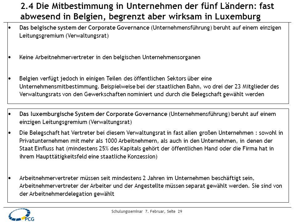Schulungsseminar 7. Februar, Seite 29 Das belgische system der Corporate Governance (Unternehmensführung) beruht auf einem einzigen Leitungsgremium (V