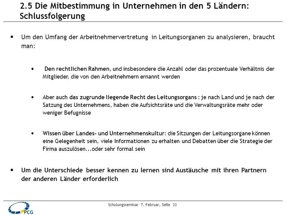 Schulungsseminar 7. Februar, Seite 33 Um den Umfang der Arbeitnehmervertretung in Leitungsorganen zu analysieren, braucht man: Den rechtlichen Rahmen,
