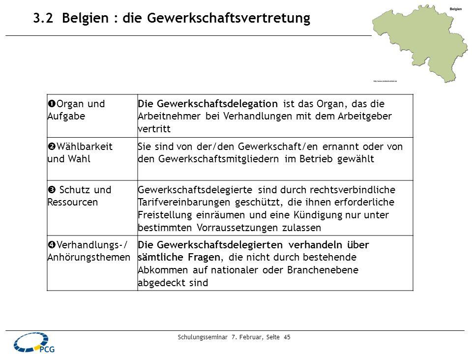 Schulungsseminar 7. Februar, Seite 45 3.2 Belgien : die Gewerkschaftsvertretung Organ und Aufgabe Die Gewerkschaftsdelegation ist das Organ, das die A