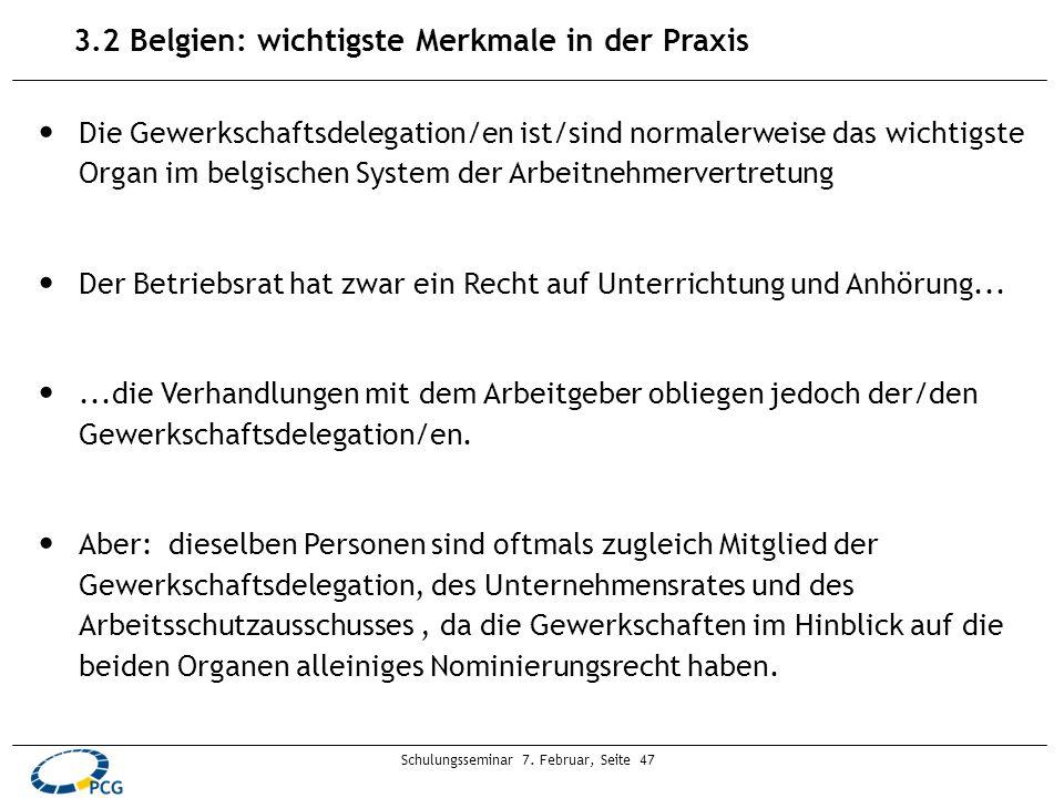 Schulungsseminar 7. Februar, Seite 47 Die Gewerkschaftsdelegation/en ist/sind normalerweise das wichtigste Organ im belgischen System der Arbeitnehmer