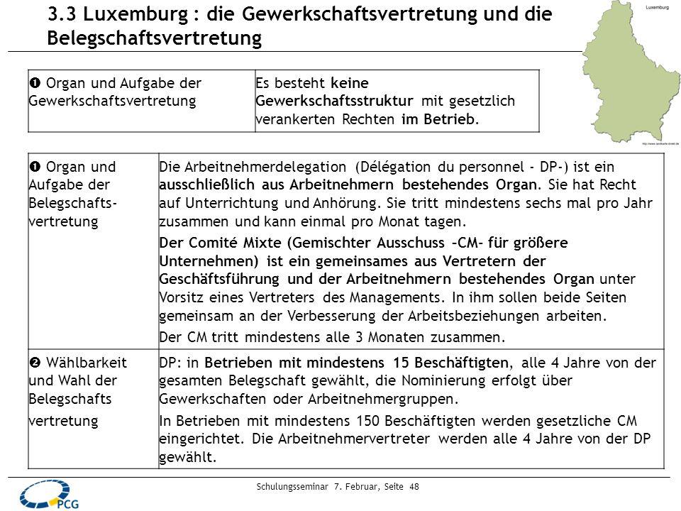 Schulungsseminar 7. Februar, Seite 48 3.3 Luxemburg : die Gewerkschaftsvertretung und die Belegschaftsvertretung Organ und Aufgabe der Gewerkschaftsve