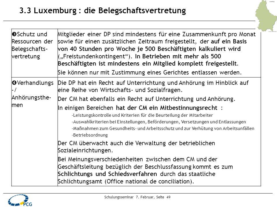 Schulungsseminar 7. Februar, Seite 49 3.3 Luxemburg : die Belegschaftsvertretung Schutz und Ressourcen der Belegschafts- vertretung Mitglieder einer D