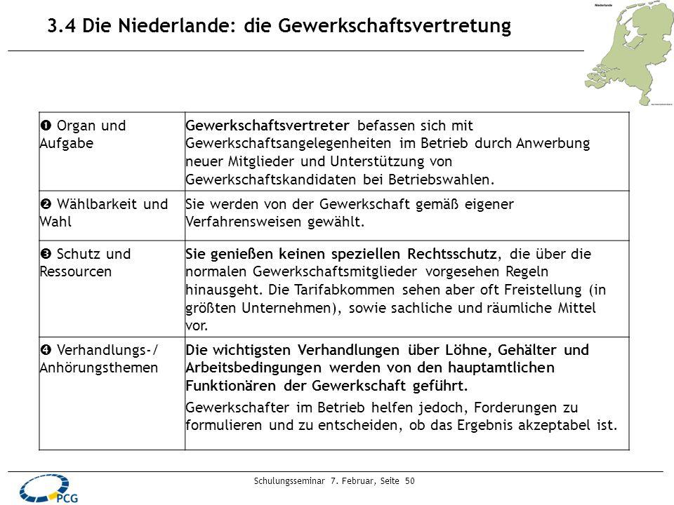 Schulungsseminar 7. Februar, Seite 50 3.4 Die Niederlande: die Gewerkschaftsvertretung Organ und Aufgabe Gewerkschaftsvertreter befassen sich mit Gewe